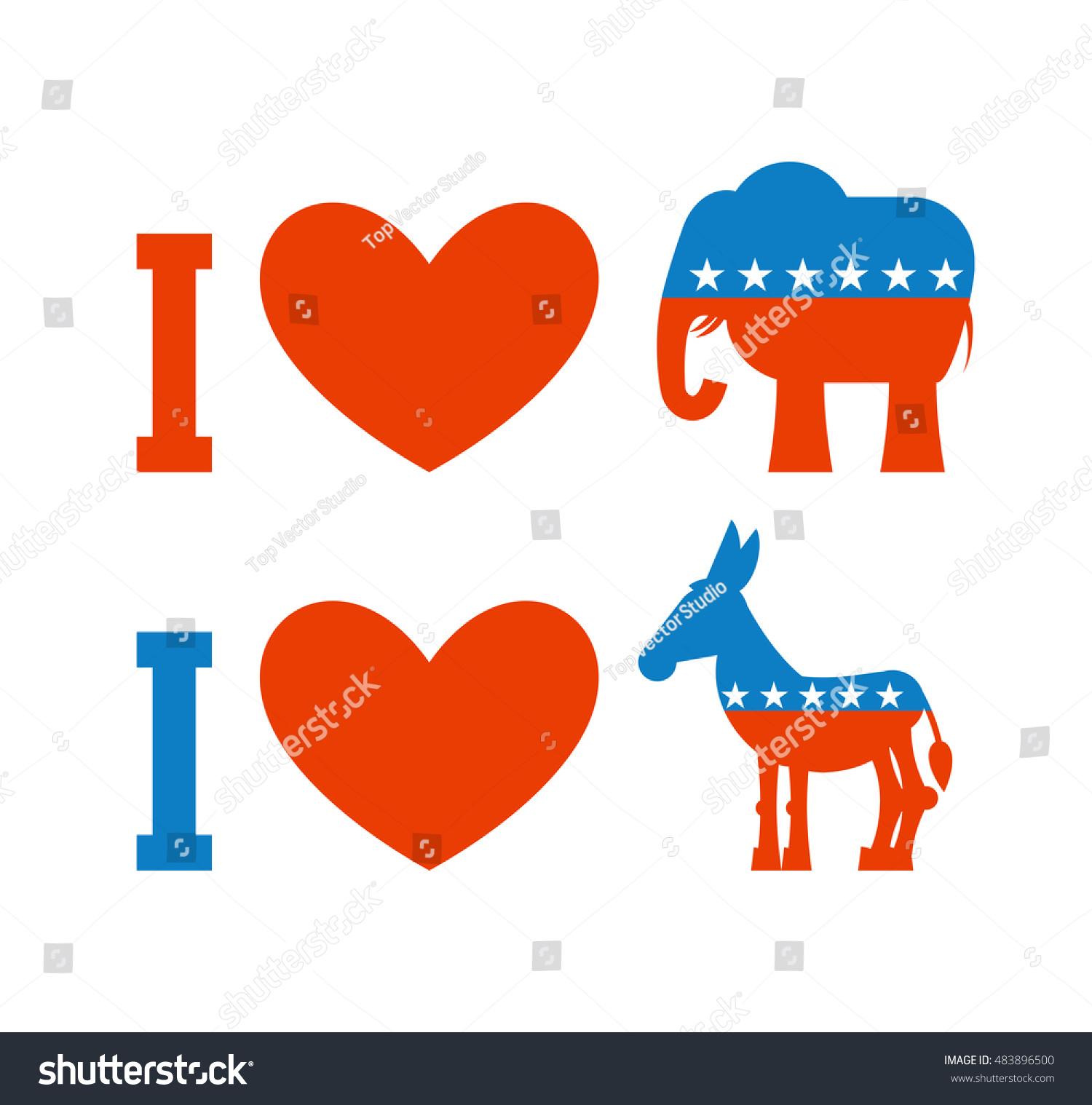 Love Democrat Like Republican Symbol Heart Stock Vector Royalty