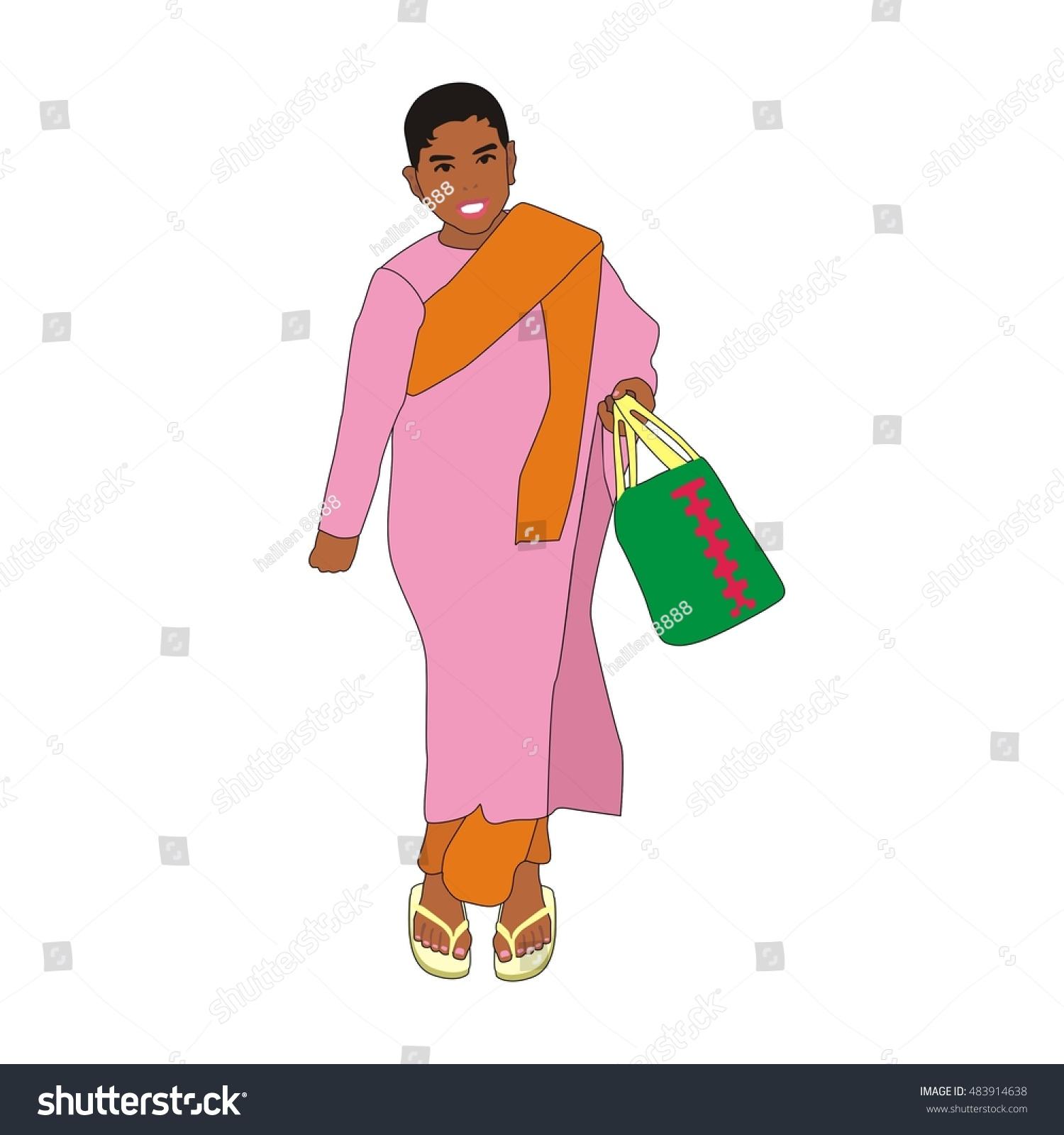 Royalty Free Stock Illustration of Illustration Myanmar Girl Monk ...