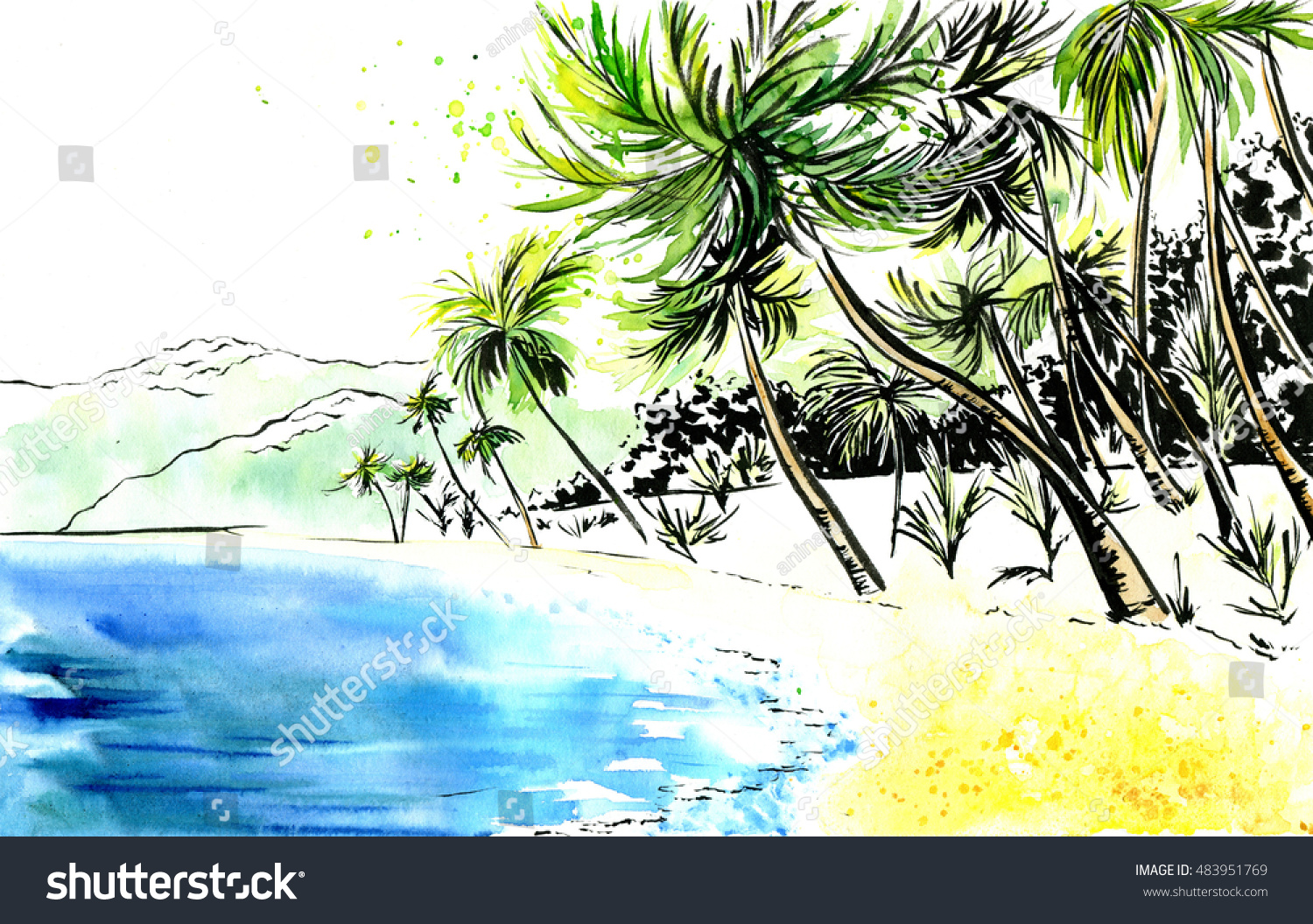 Hand Drawn Watercolor Landscape Beautiful Untouched Stock ...