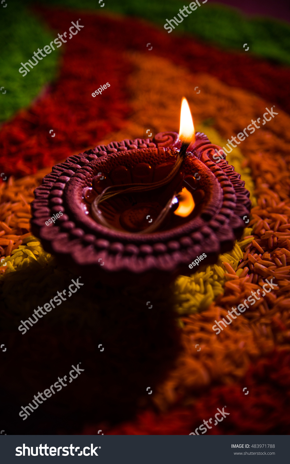 Beautiful Diwali Greeting Using Diya Clay Stock Photo Edit Now