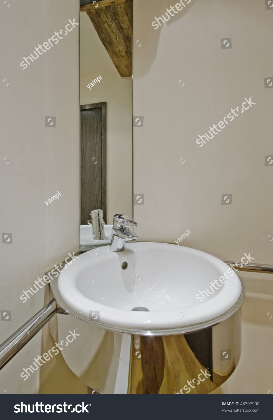 modern designer hand wash basin with mirror. Modern Designer Hand Wash Basin Mirror Stock Photo 48397900