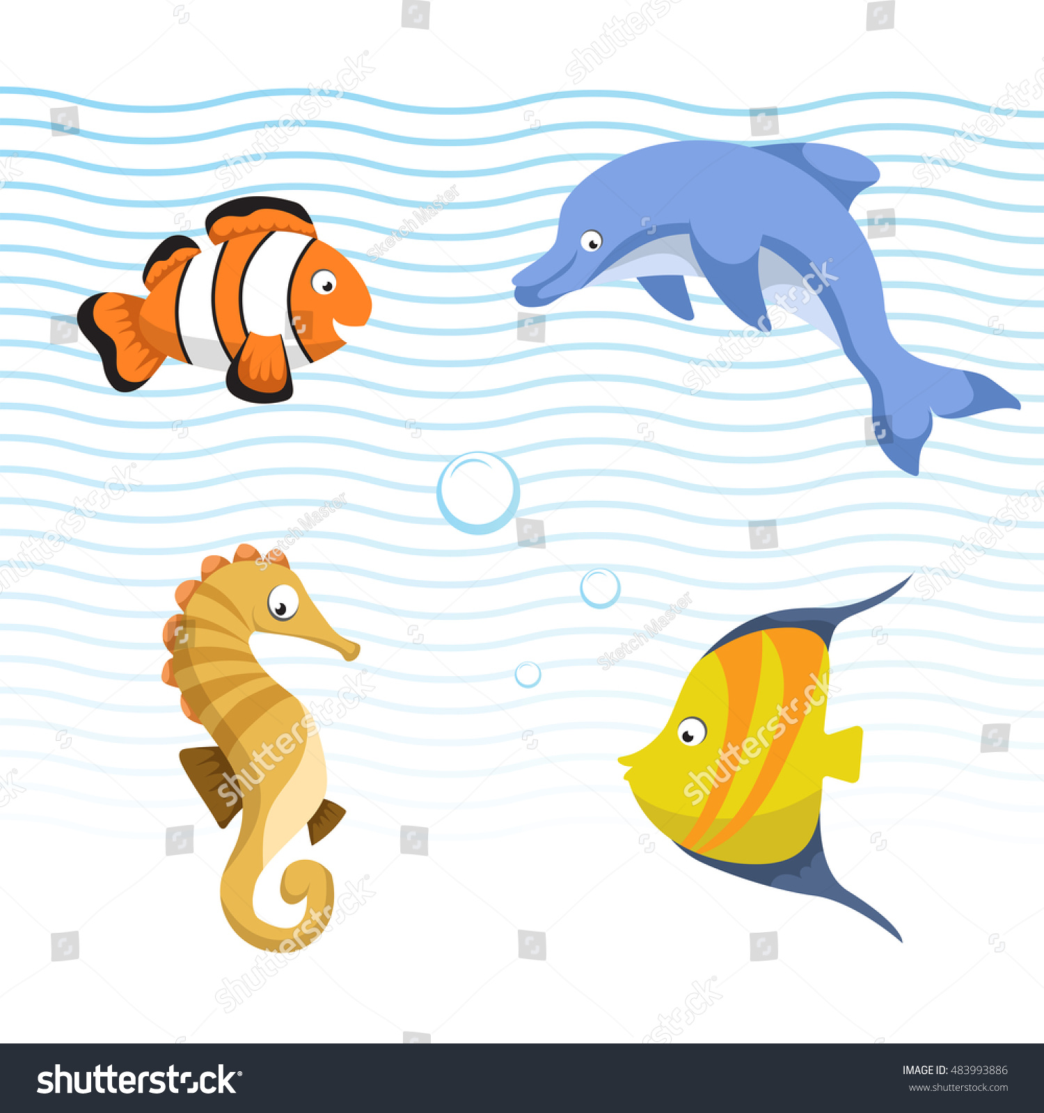 vector cute different sea ocean animals stock vector 483993886