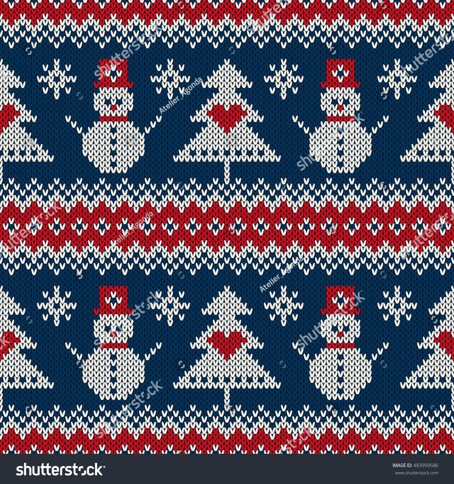Winter Holiday Knitting Sweater Design Snowman Stock Vector ...