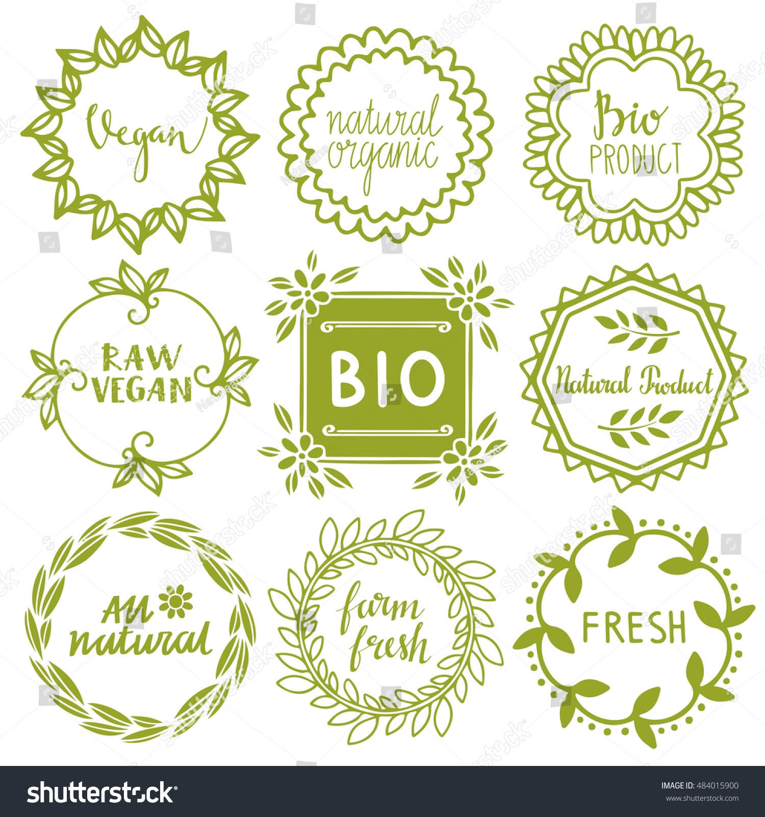 Organic Food Labels Set Bio Eco Stock Illustration 484015900 ...