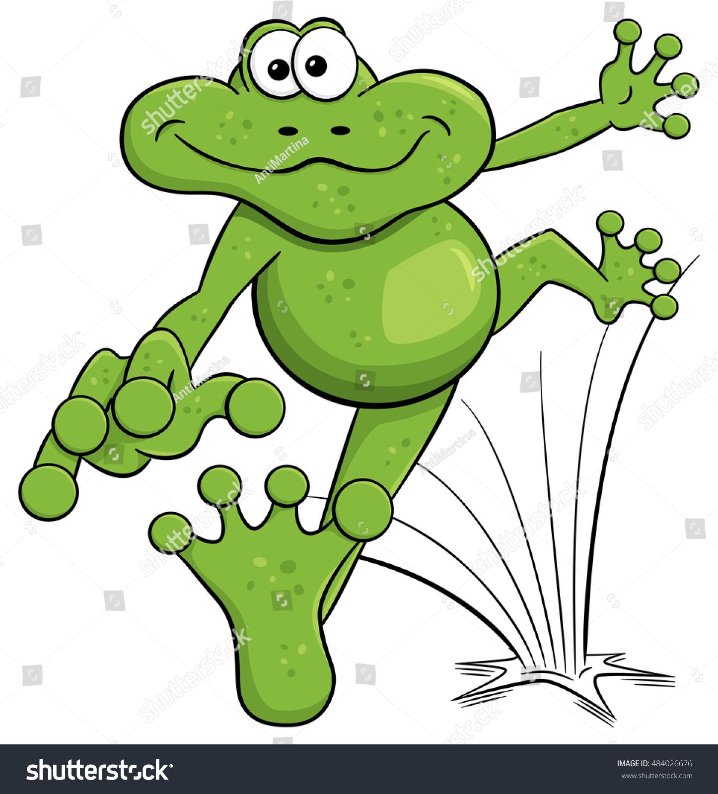 vector illustration jumping cartoon frog isolated stock vector