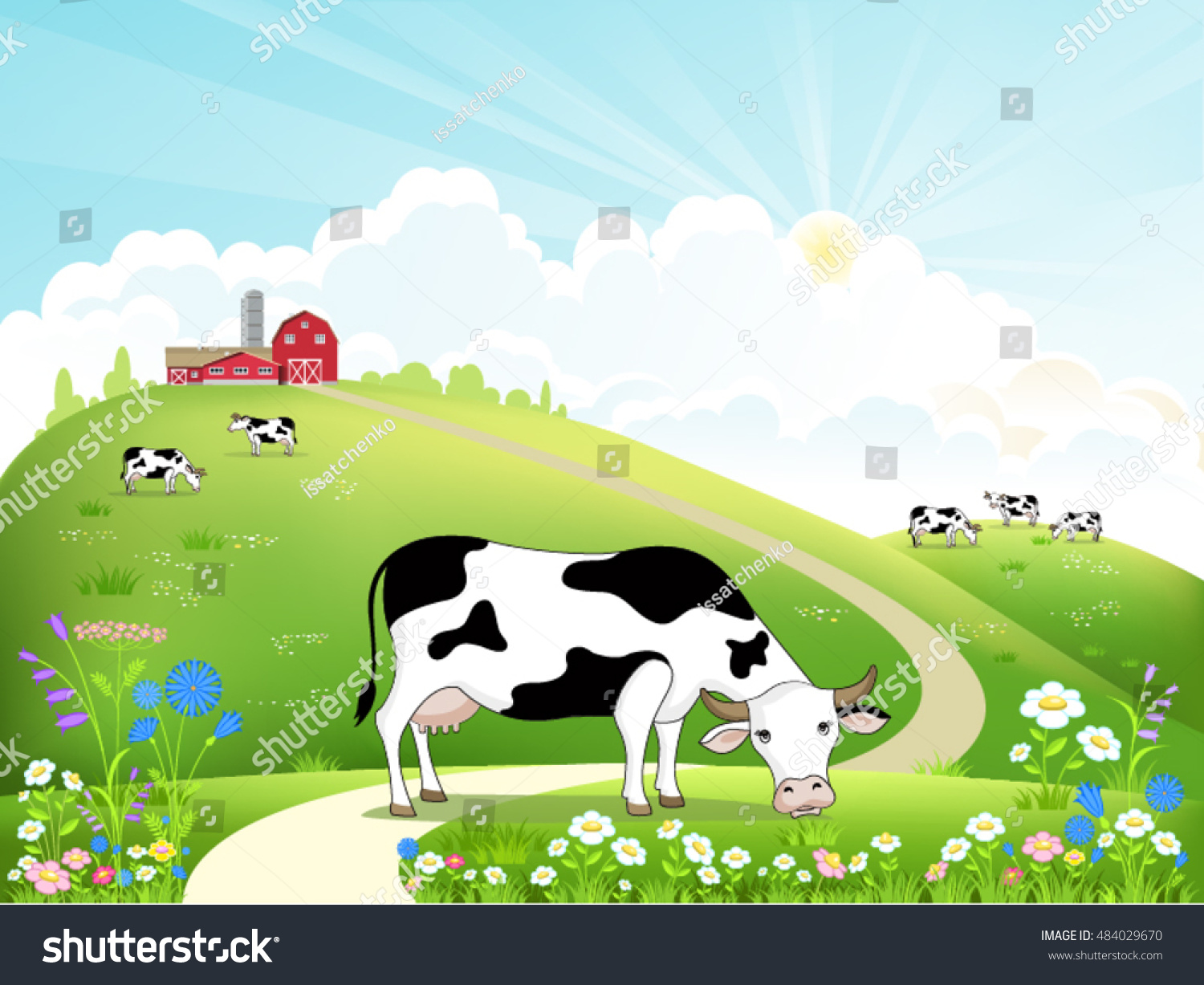 dairy farm herd cows on beautiful stock vector 484029670
