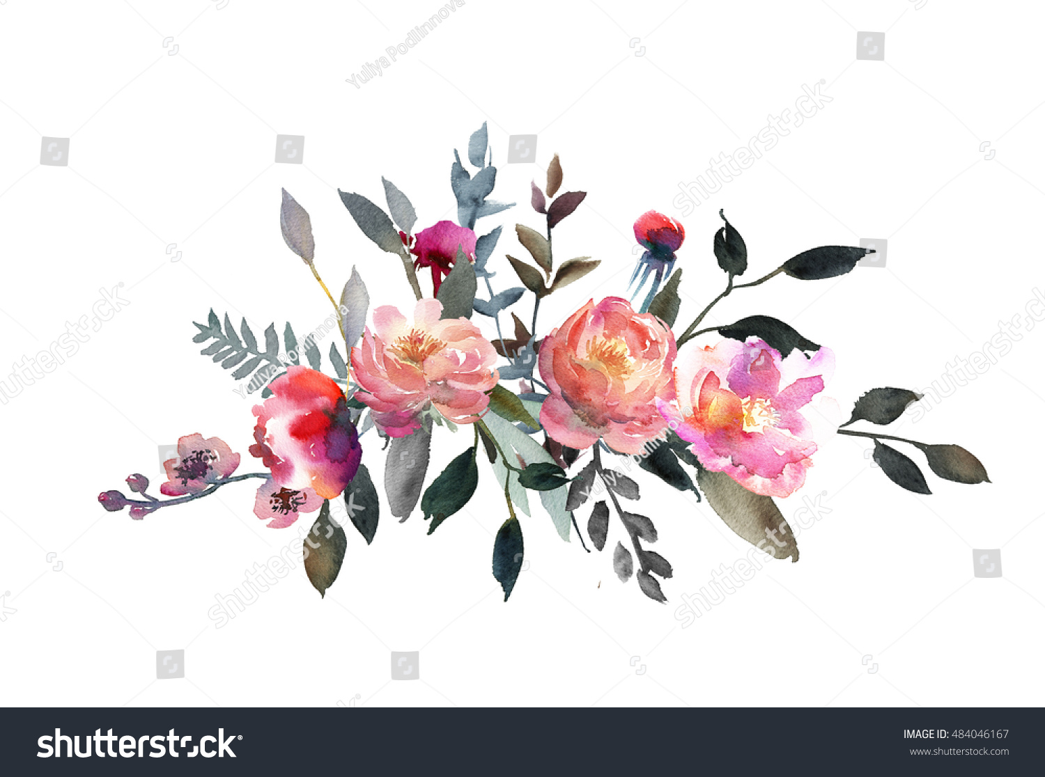Watercolor peony floral bouquet pink coral stock illustration watercolor peony floral bouquet pink coral grey flowers peonies leaves branches arrangements for winter wedding or mightylinksfo