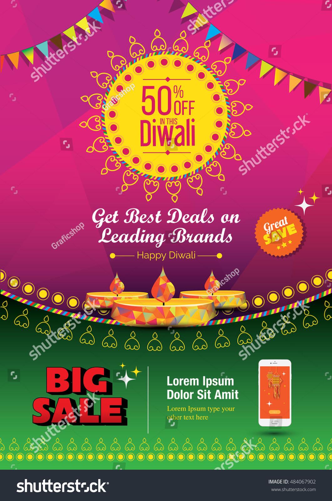 Diwali Festival Poster Design Template 50 Stock Vector (2018 ...