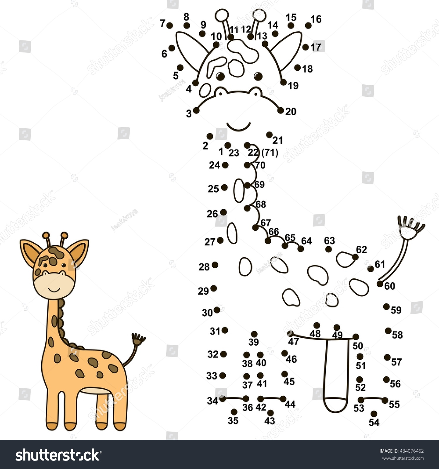 connect dots draw cute giraffe color stock vector 484076452