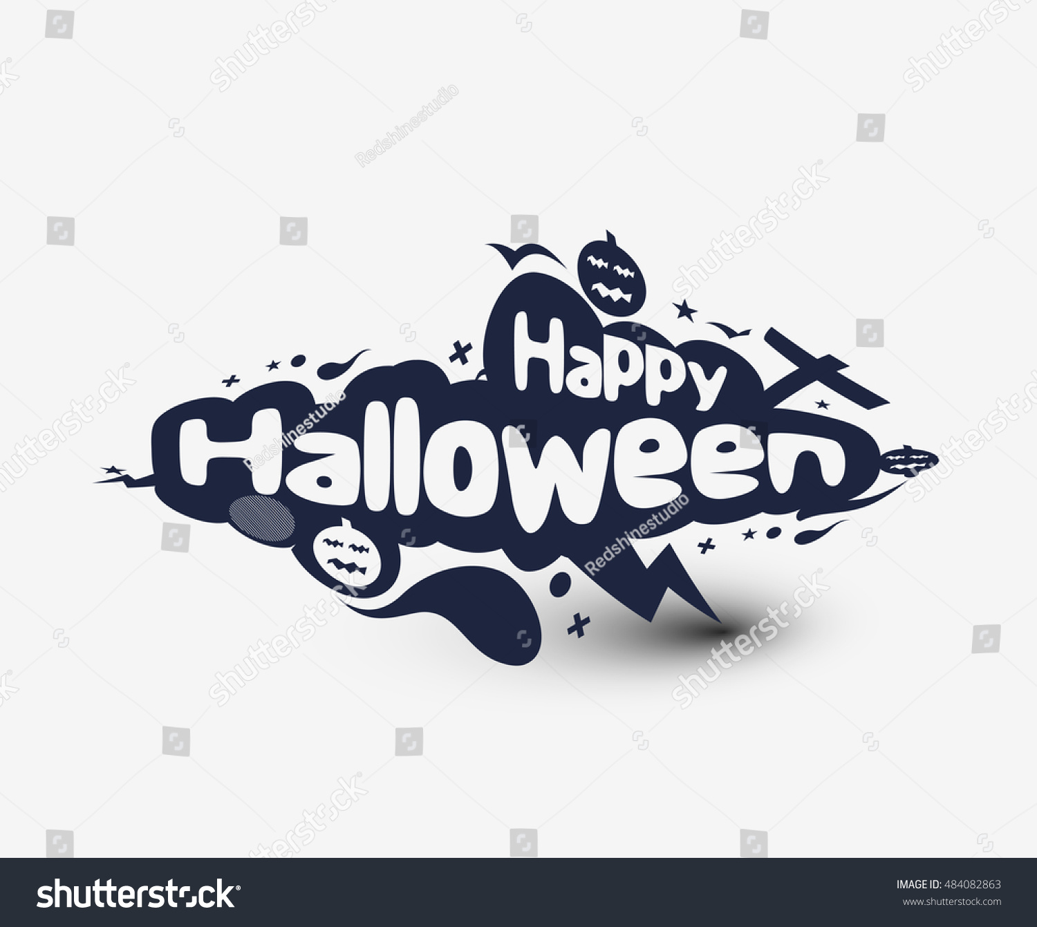 Happy halloween party greeting card calligraphy stock - Text banner design ...