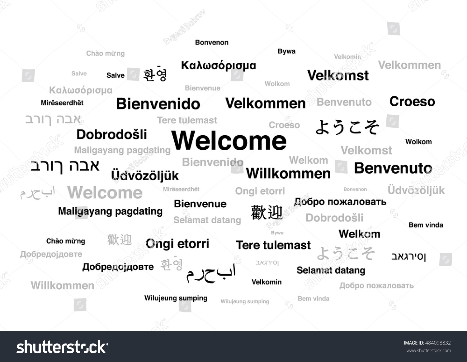 Welcome Phrase Different Languages World Isolated Stock Vector