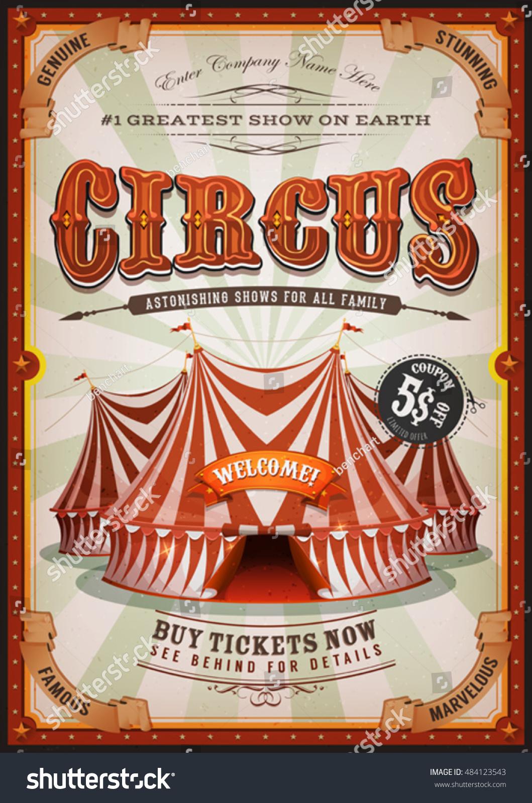 Vintage Circus Poster Big Top Retro Stock-Vektorgrafik 484123543 ...