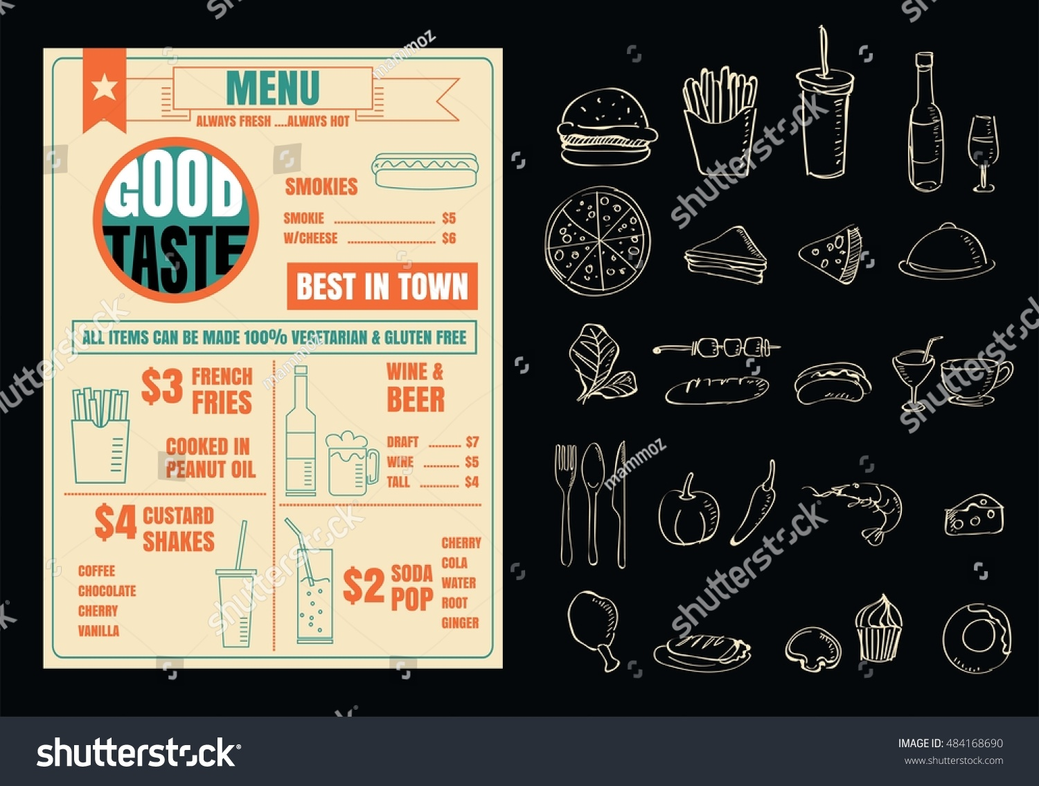 Restaurant menu design elements chalk drawn 스톡 벡터