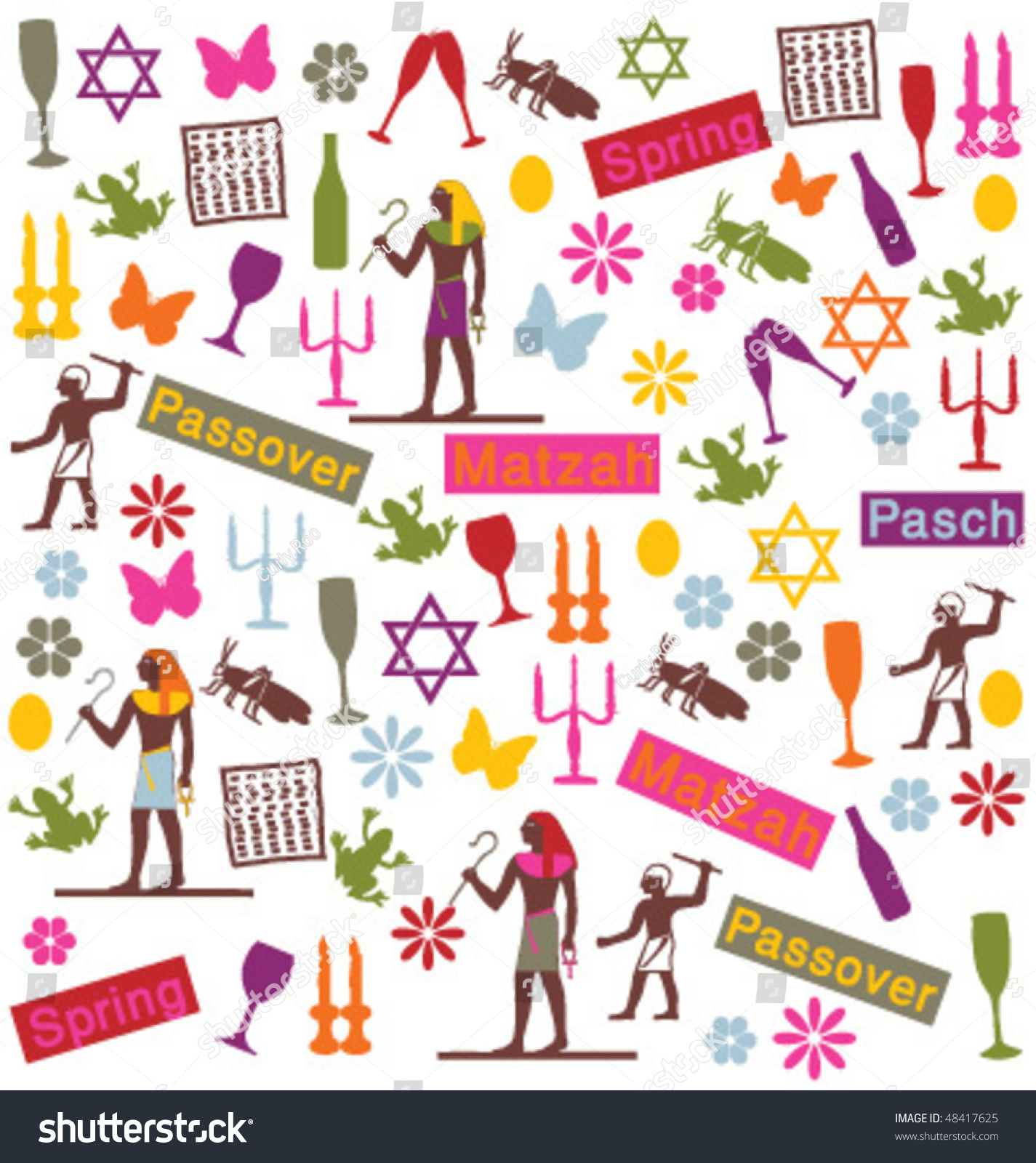 Happy Passover Greeting Card Set Vector Stock Vector Royalty Free