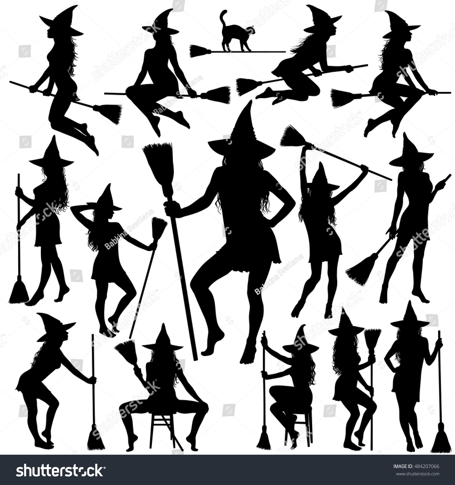 silhouettes halloween witches standing sitting poses stock vector
