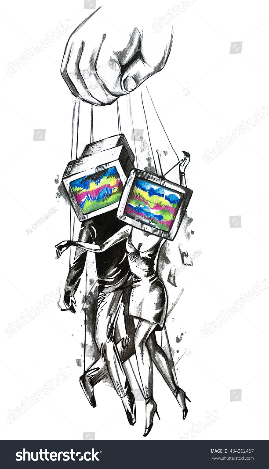 mind control television manipulation advertising illustration  mind control television manipulation advertising illustration