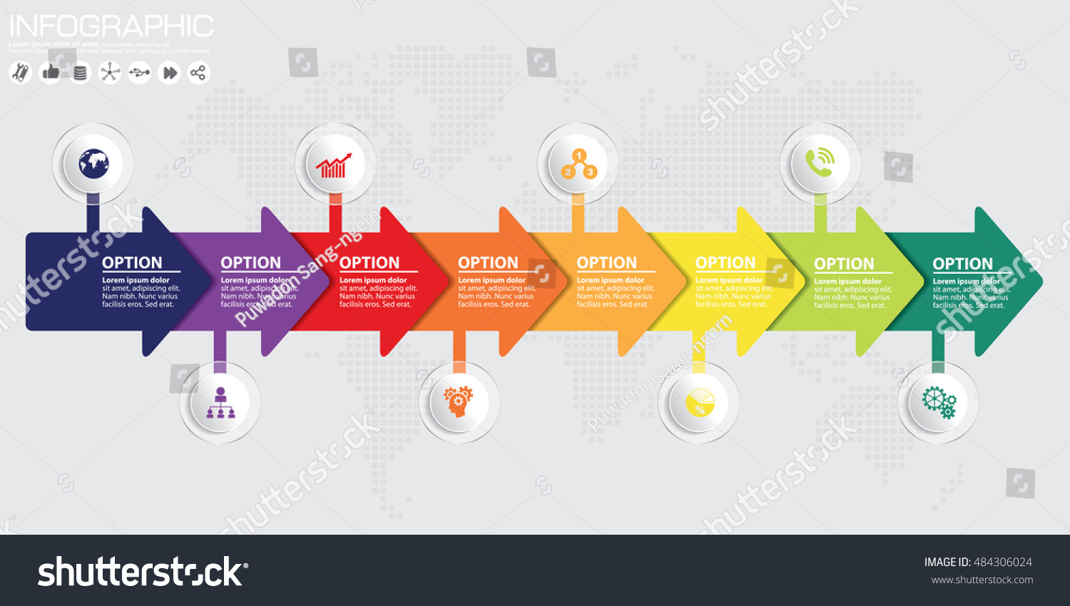 Timeline arrow vector infographic world map stock vector 484306024 timeline and arrow vector infographic world map background gumiabroncs Gallery