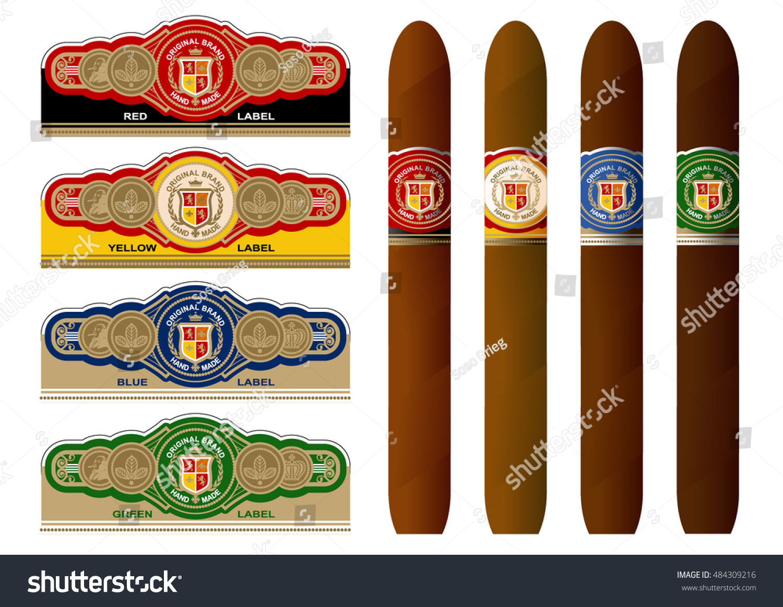 Vintage Cigar Band Template Vector Elements Stock Vector Royalty