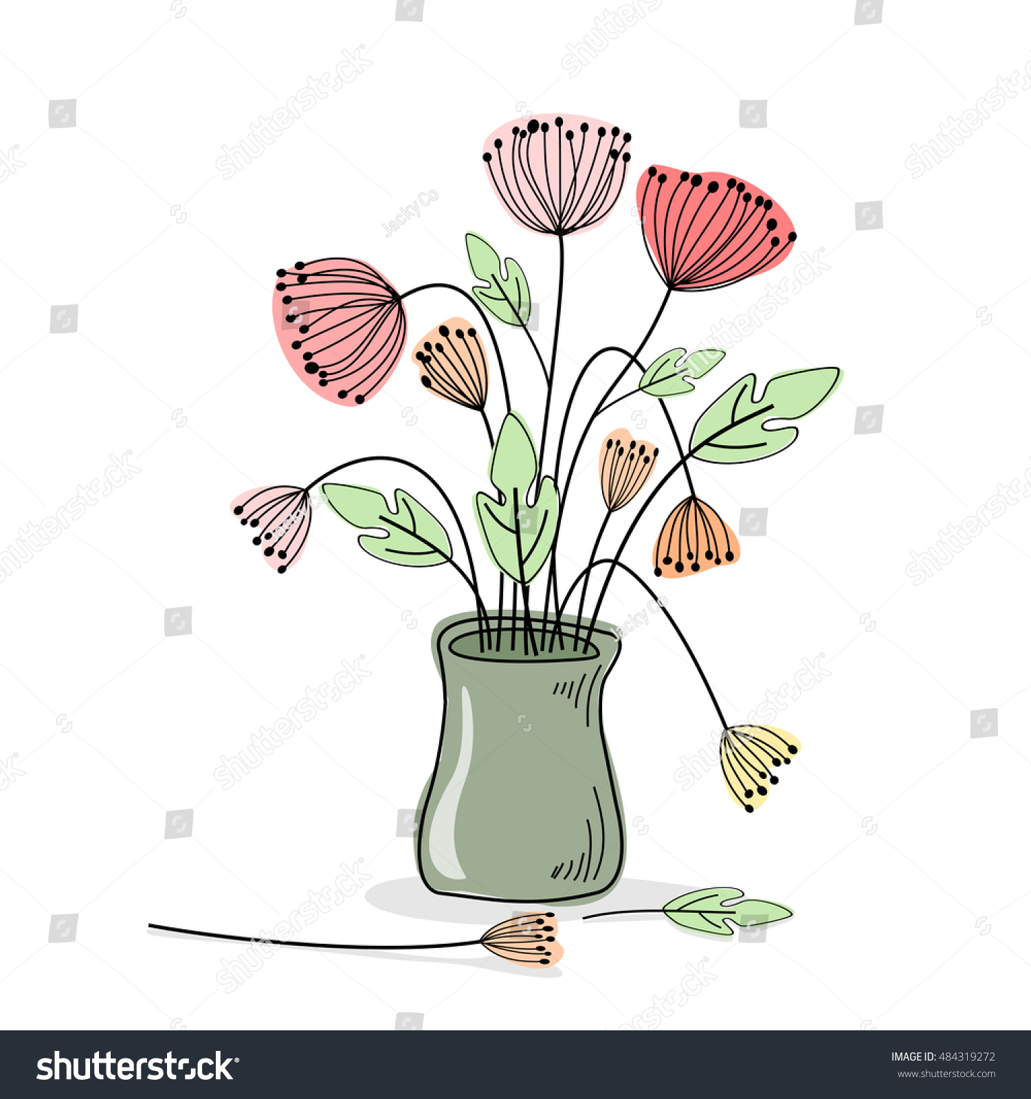 Drawings vase flowers vector stock vector 484319272 shutterstock drawings vase with flowers vector reviewsmspy