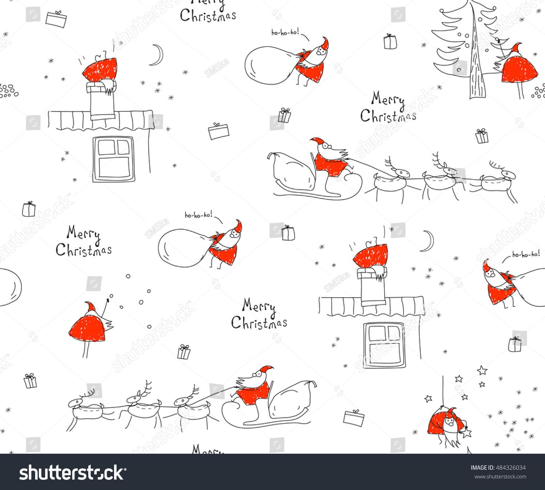 Seamless Pattern Merry Christmas Santa Claus Stock Vector
