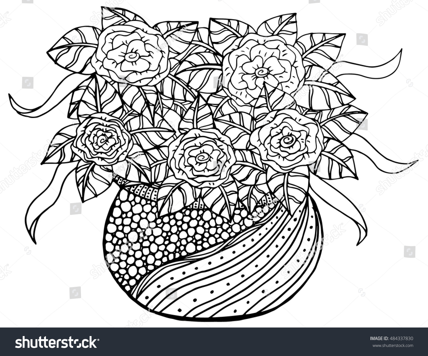 Vector Doodle Floral Illustrated Bouquet Flowers Stock Photo (Photo ...