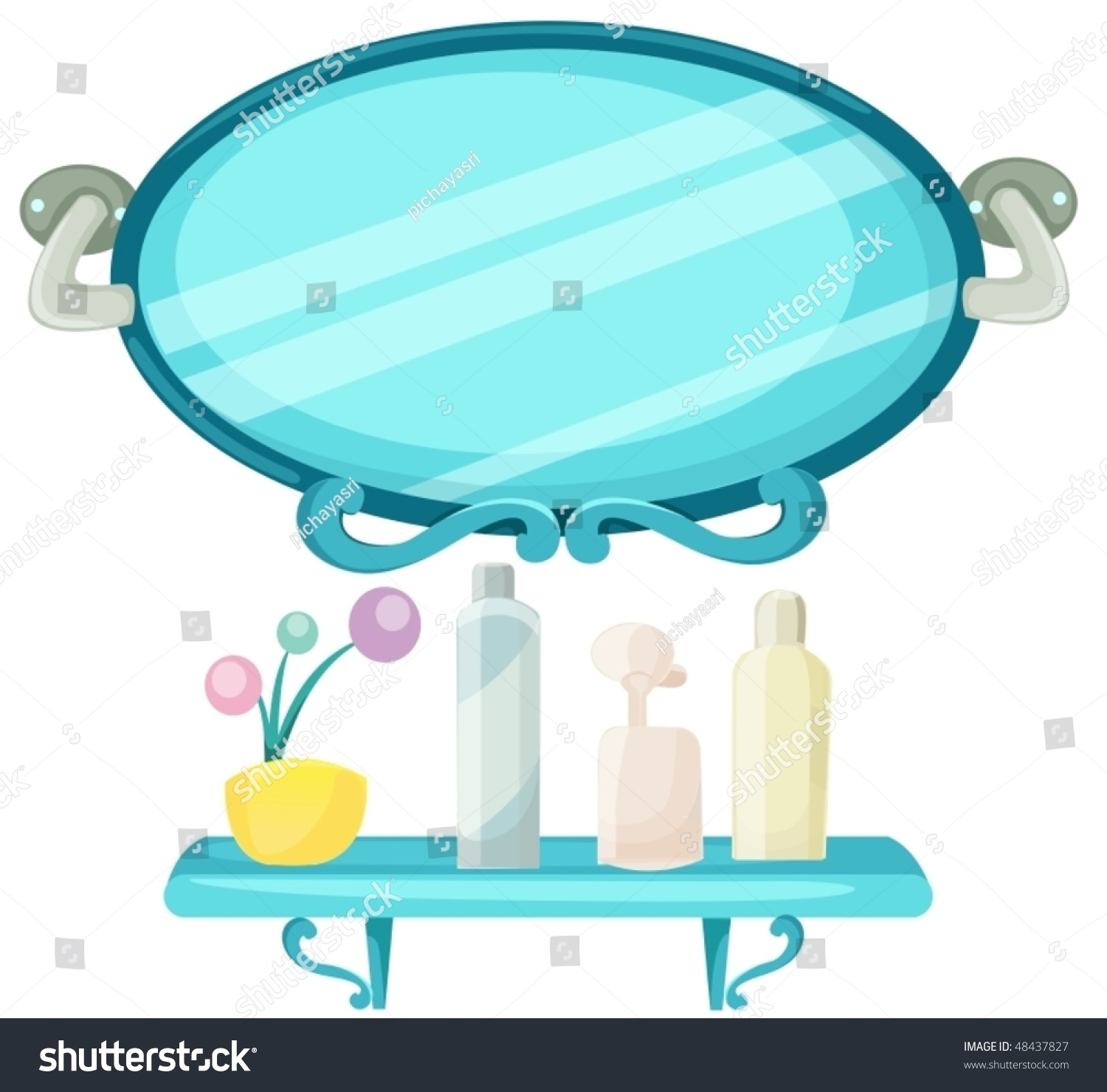 Illustration Isolated Shelf Bathroom Mirror Stock Vector