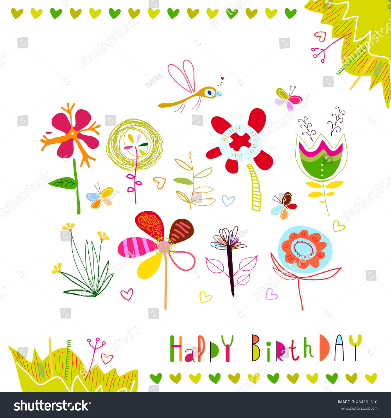 Happy Birthday Set Multicolored Abstract Flowers Stock Vector