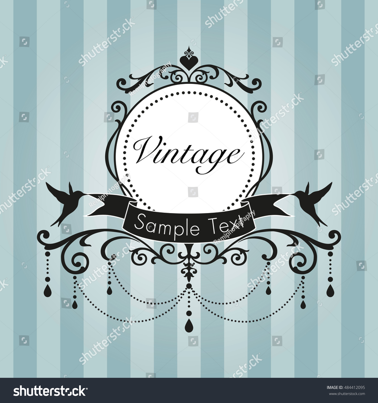 Chandelier vintage frame birds on blue stock vector hd royalty free chandelier vintage frame with birds on blue stripe background arubaitofo Gallery