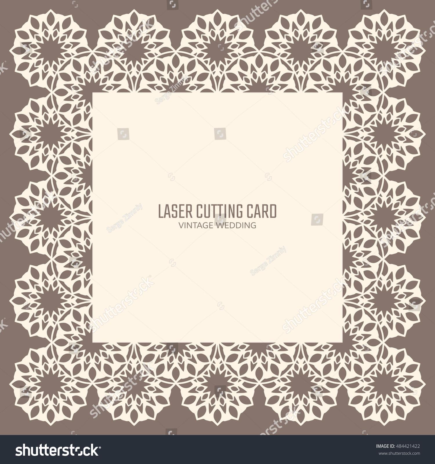 DIY Laser Cutting Vector Card Wedding Stock Vector 484421422 ...