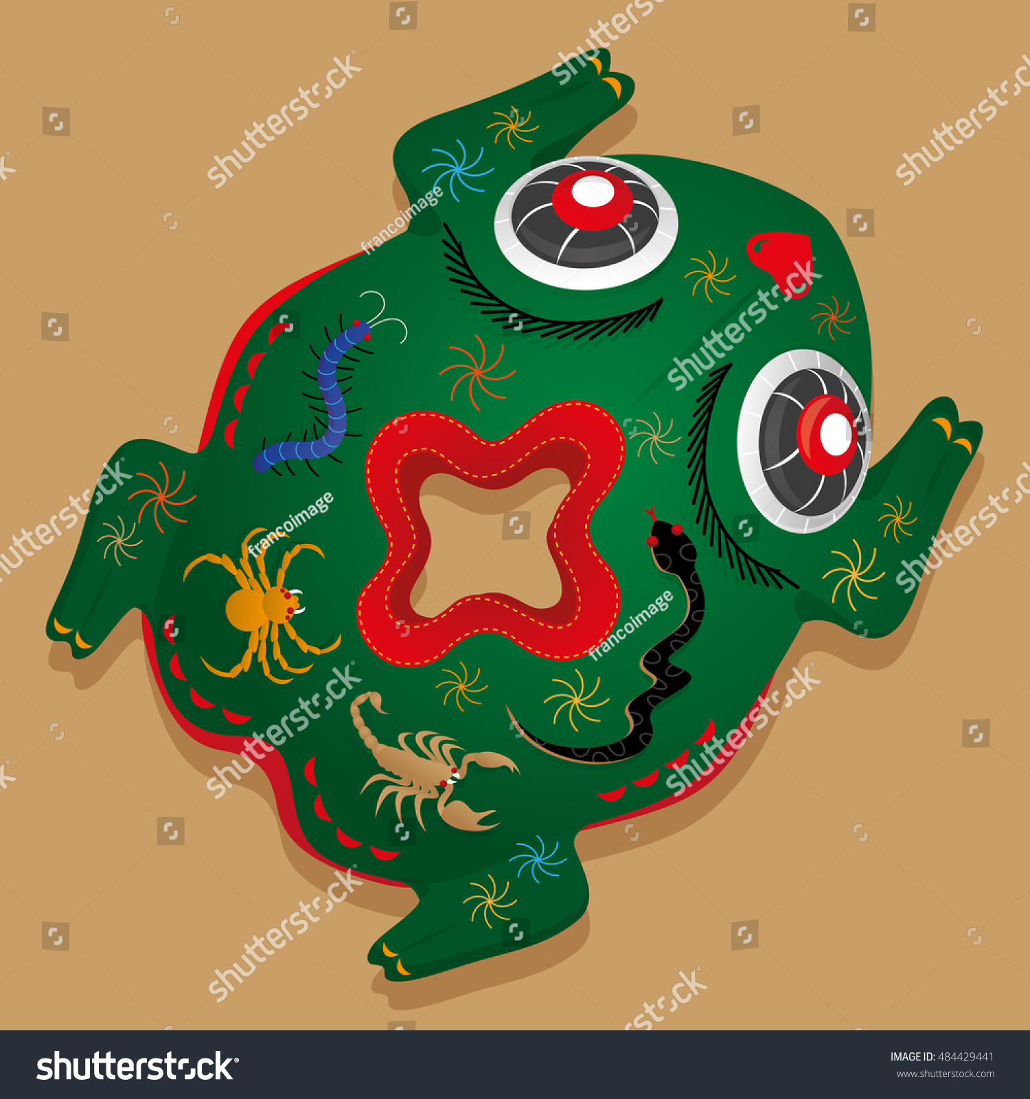 Chinese five poison toadshaped pillow chinese stock vector chinese five poison toad shaped pillow in chinese symbol of five poison reptiles biocorpaavc Gallery