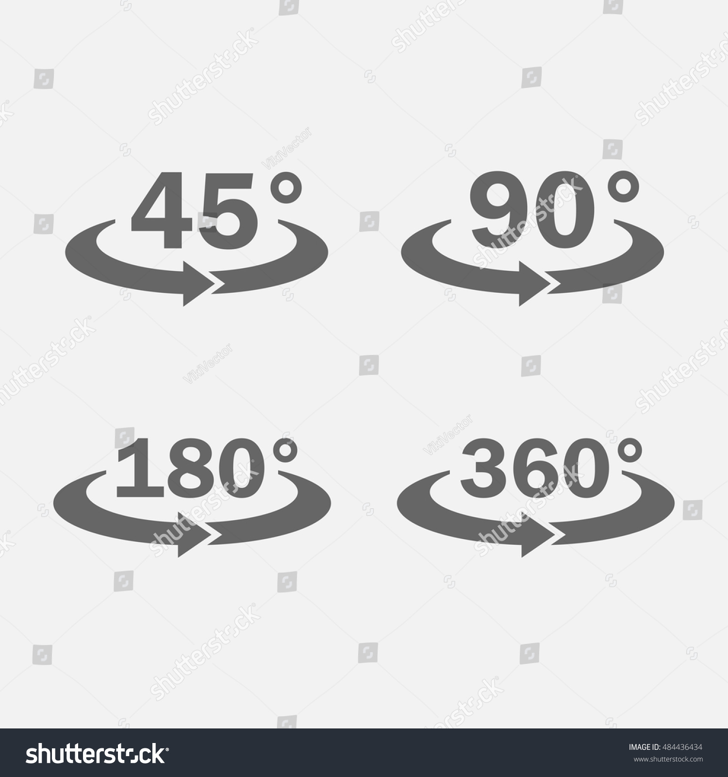 Background image rotate 90 - 45 90 180 360 Degrees View Icon Vector Set Isolated From The Background