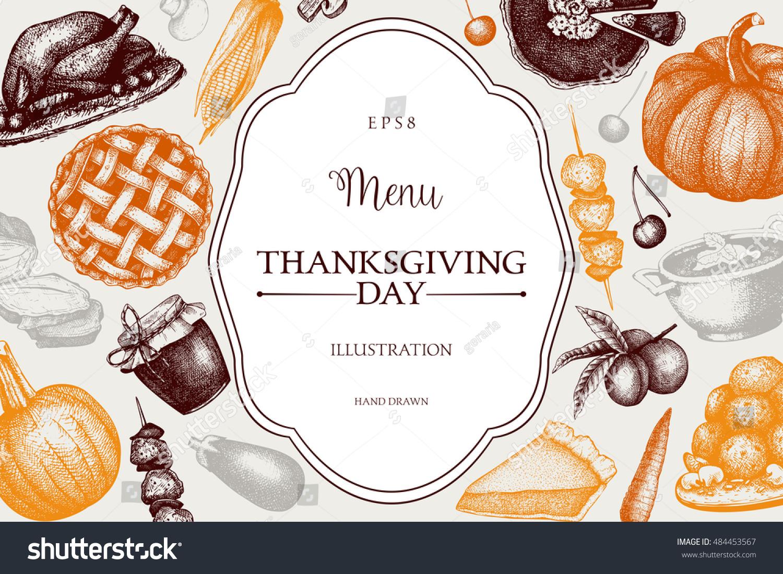 Thanksgiving Day Menu Design Vector Frame Stock Vector Royalty Free