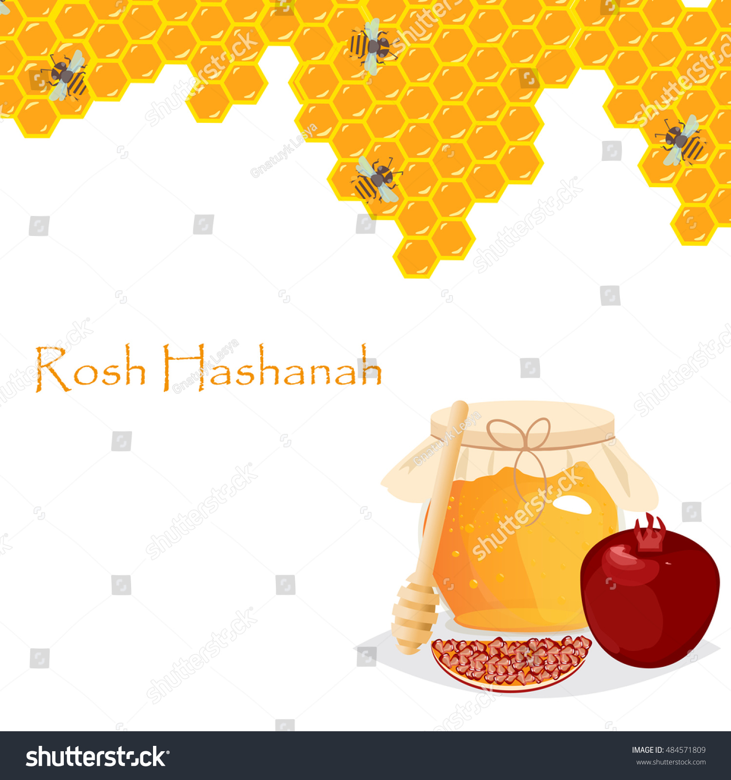Rosh hashanah jewish new year greeting stock vector 484571809 rosh hashanah jewish new year greeting card set design with hand drawing apple honey and pomegranate kristyandbryce Choice Image