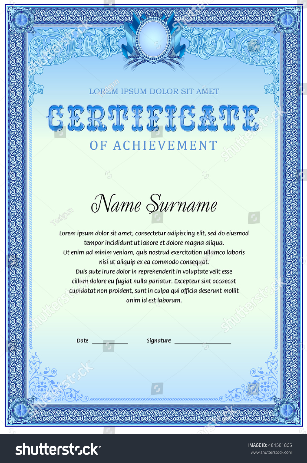 Blue certificate template certificate of completion templates certificate template blue color colorful vintage stock vector xflitez Images