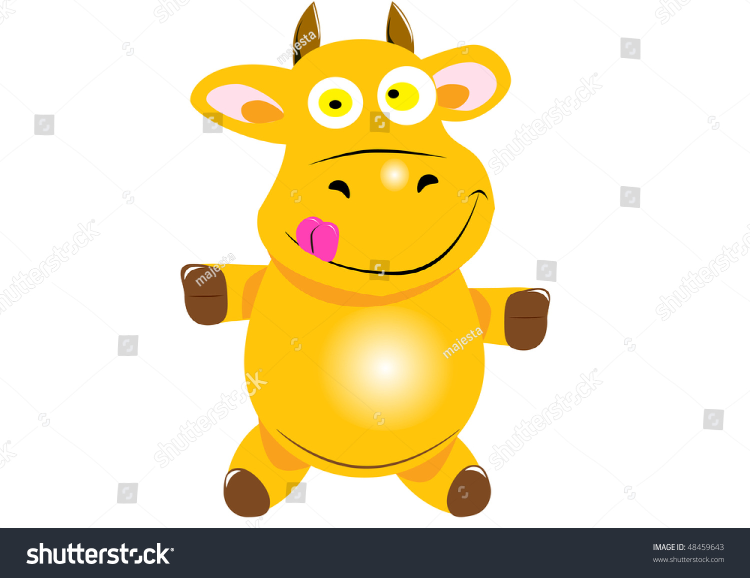 cheerful yellow cow vector illustration stock vector