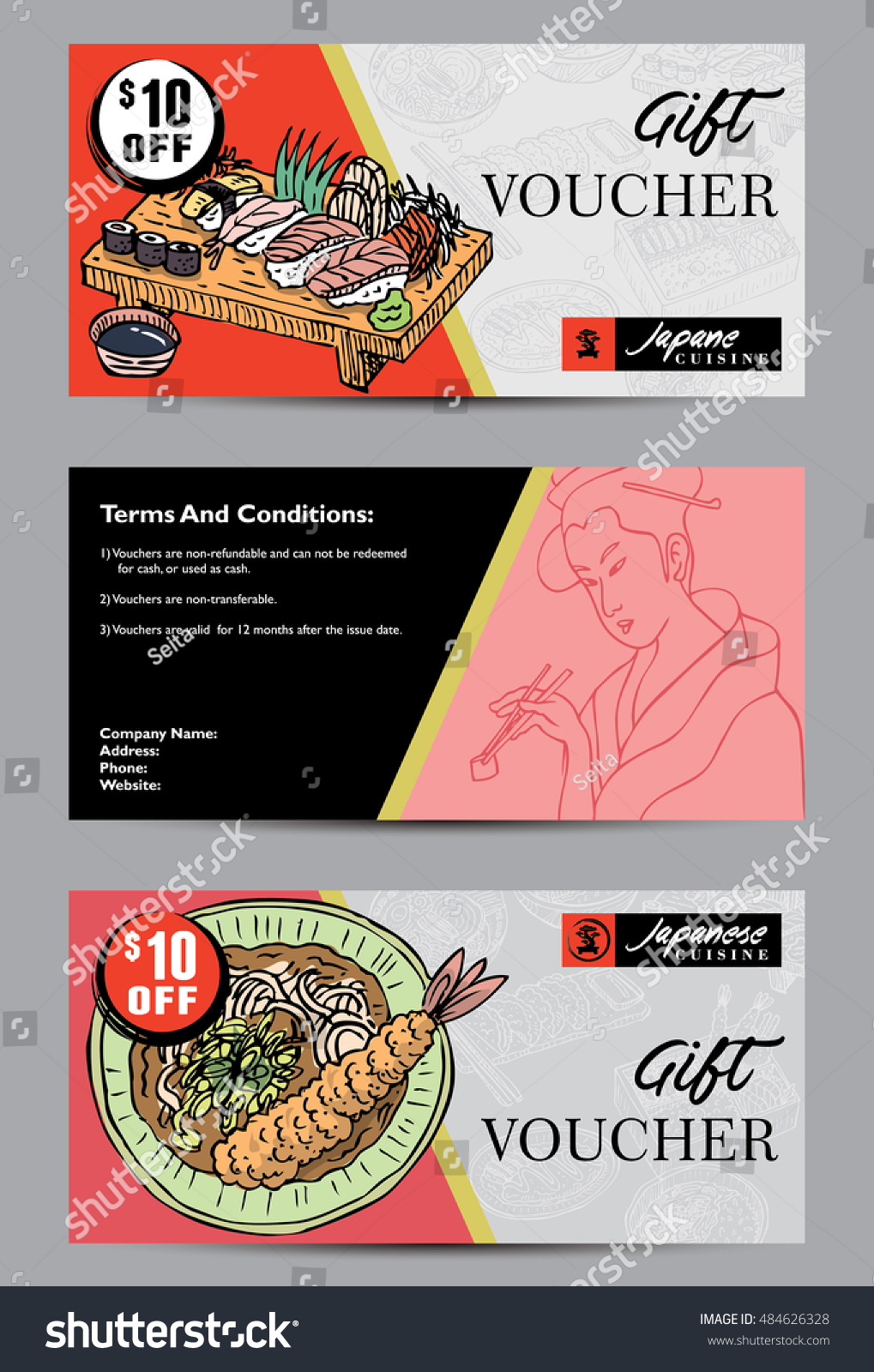 Gift voucher template hand drawn japanese stock vector 484626328 gift voucher template with hand drawn japanese food vector illustration abstract background 1betcityfo Images