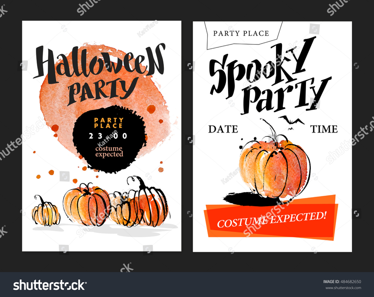 collection watercolor artistic hand drawn halloween stock
