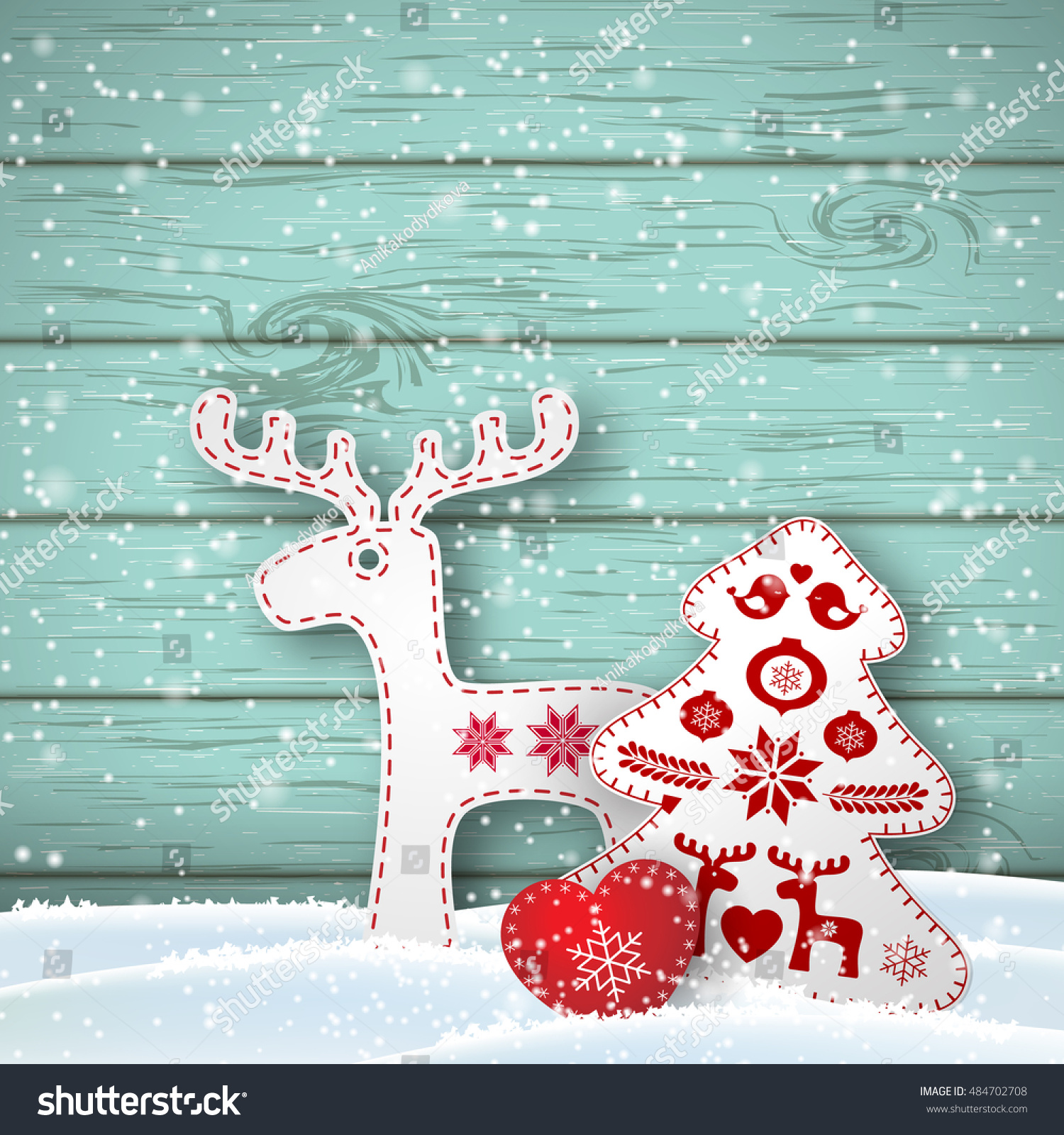 Christmas Background Small Scandinavian Styled Red Stock Vector