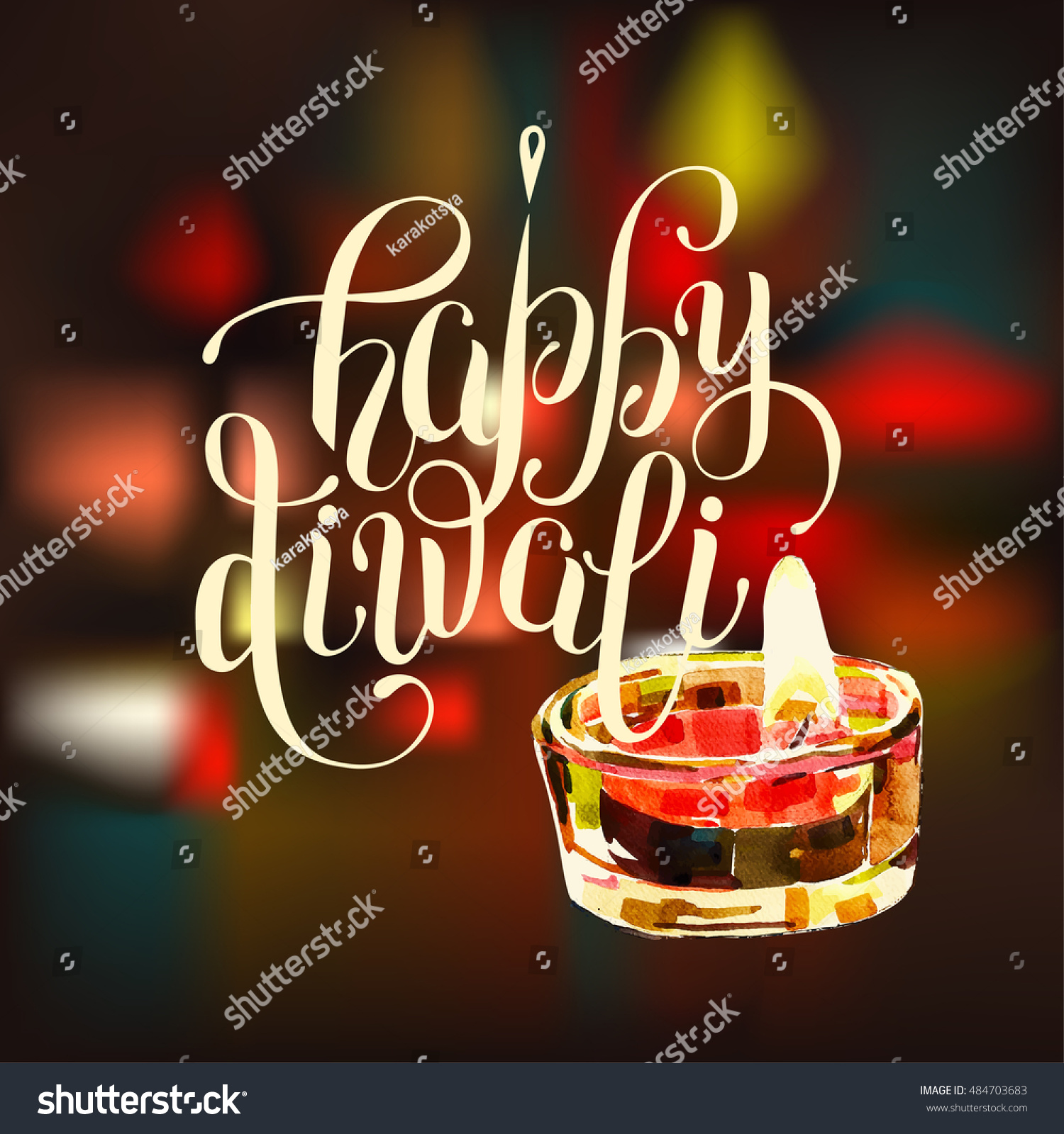 Happy Diwali Greeting Card Hand Drawing Stock Photo Photo Vector