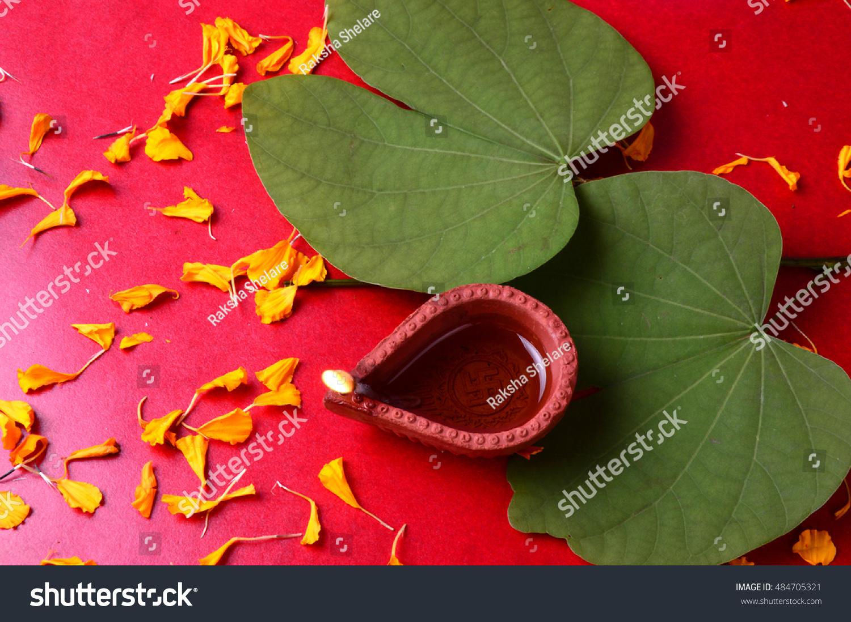 indian festival dussehra showing golden leaf stock photo 484705321