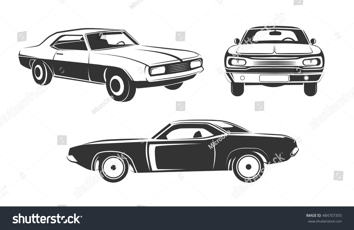 Classic Retro Muscle Cars Vector Set Stock Vector