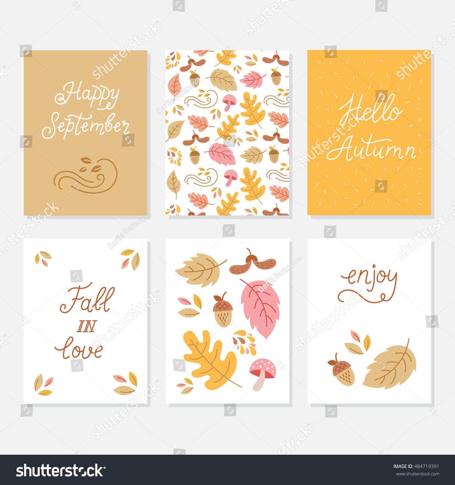 Vector Set Greeting Cards Autumn Elements Stock Vector 484719391    Shutterstock