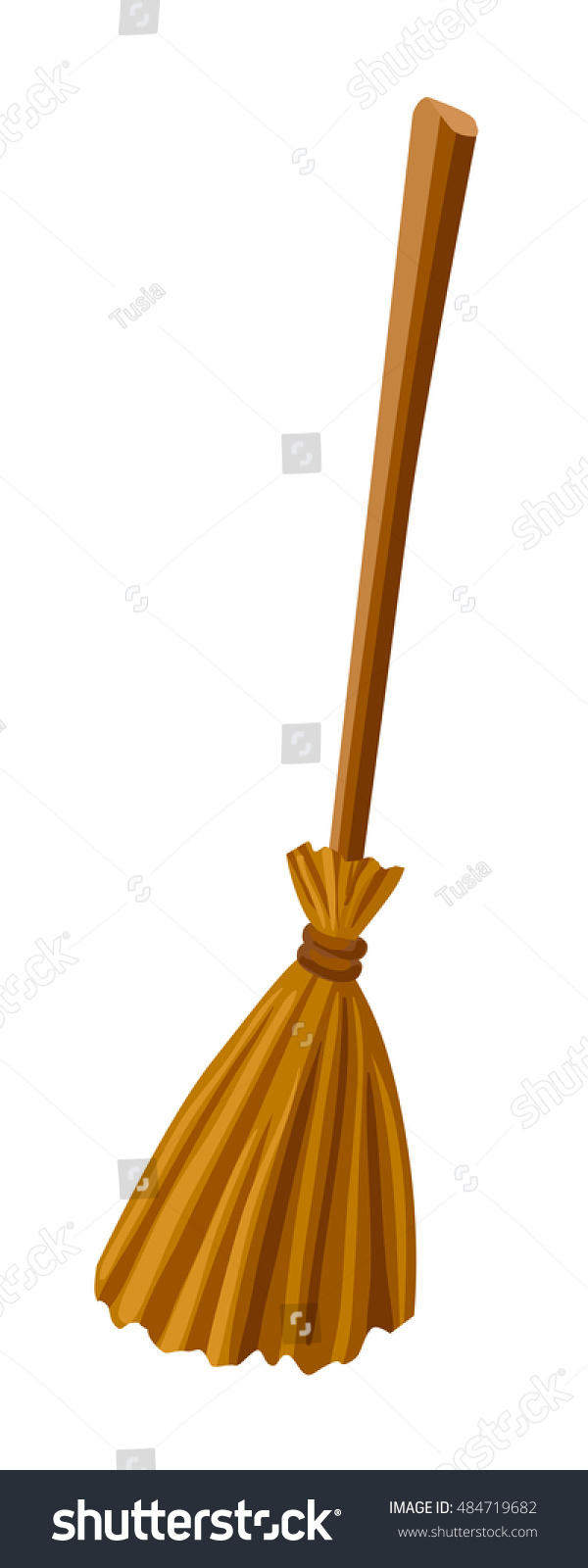 witch broomstick vector illustration broom isolated on white background halloween accessory object