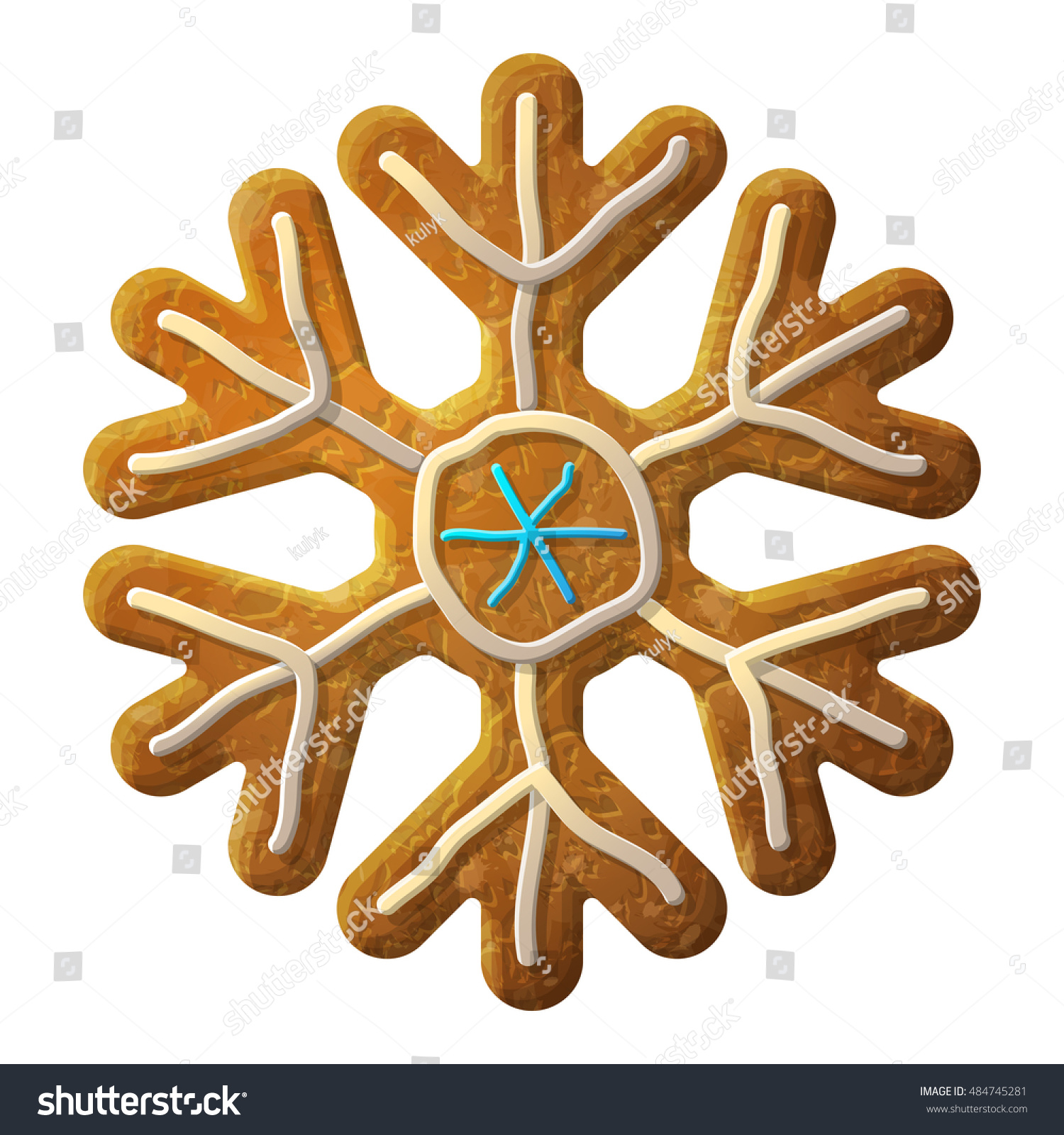 Gingerbread Snowflake Symbol Decorated Colored Icing Holiday Cookie In Shape Of Snow Sign Design