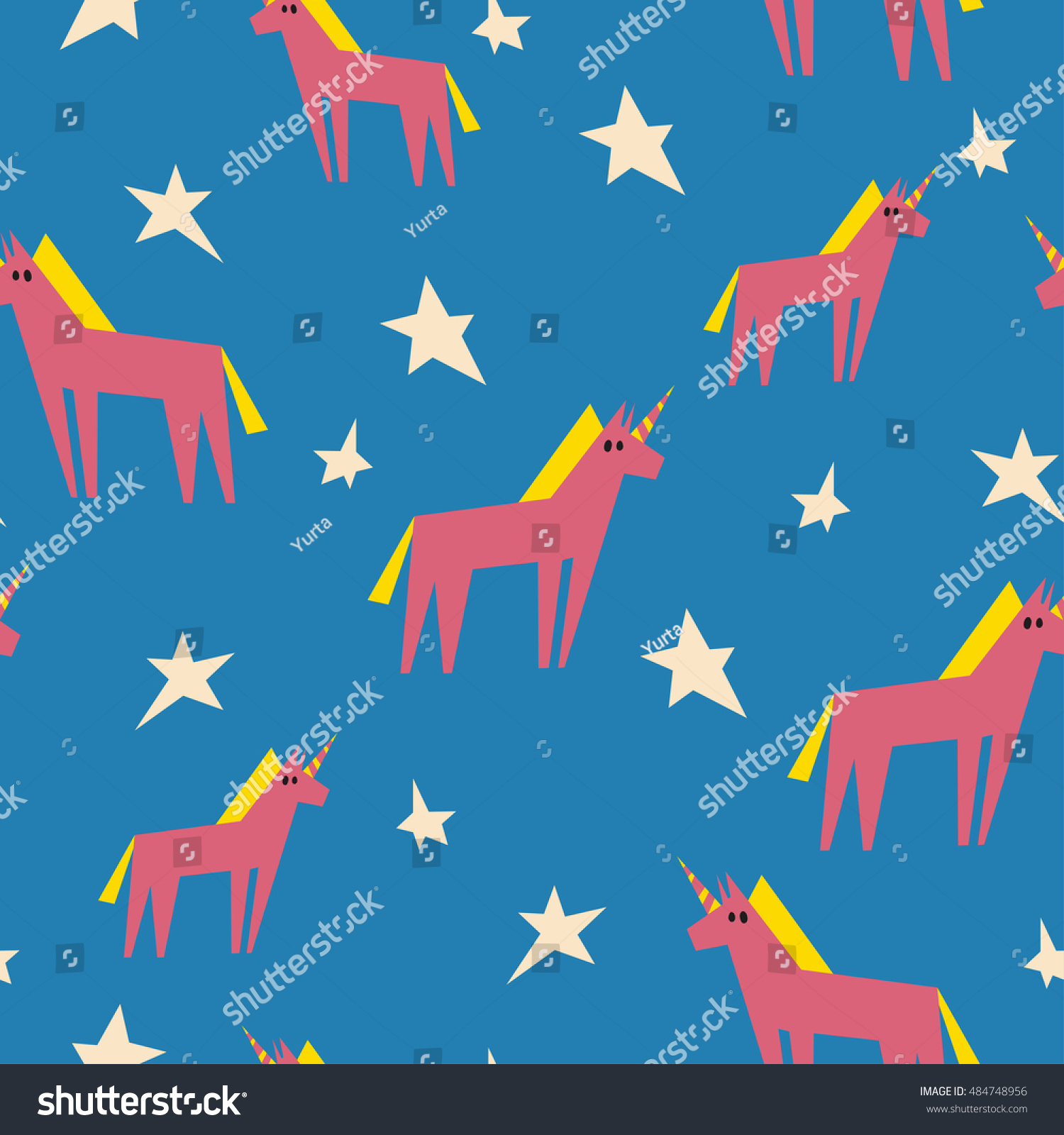 Lovely Flat Pattern With Unicorns And Stars It Can Be Used For Printing On Fabric