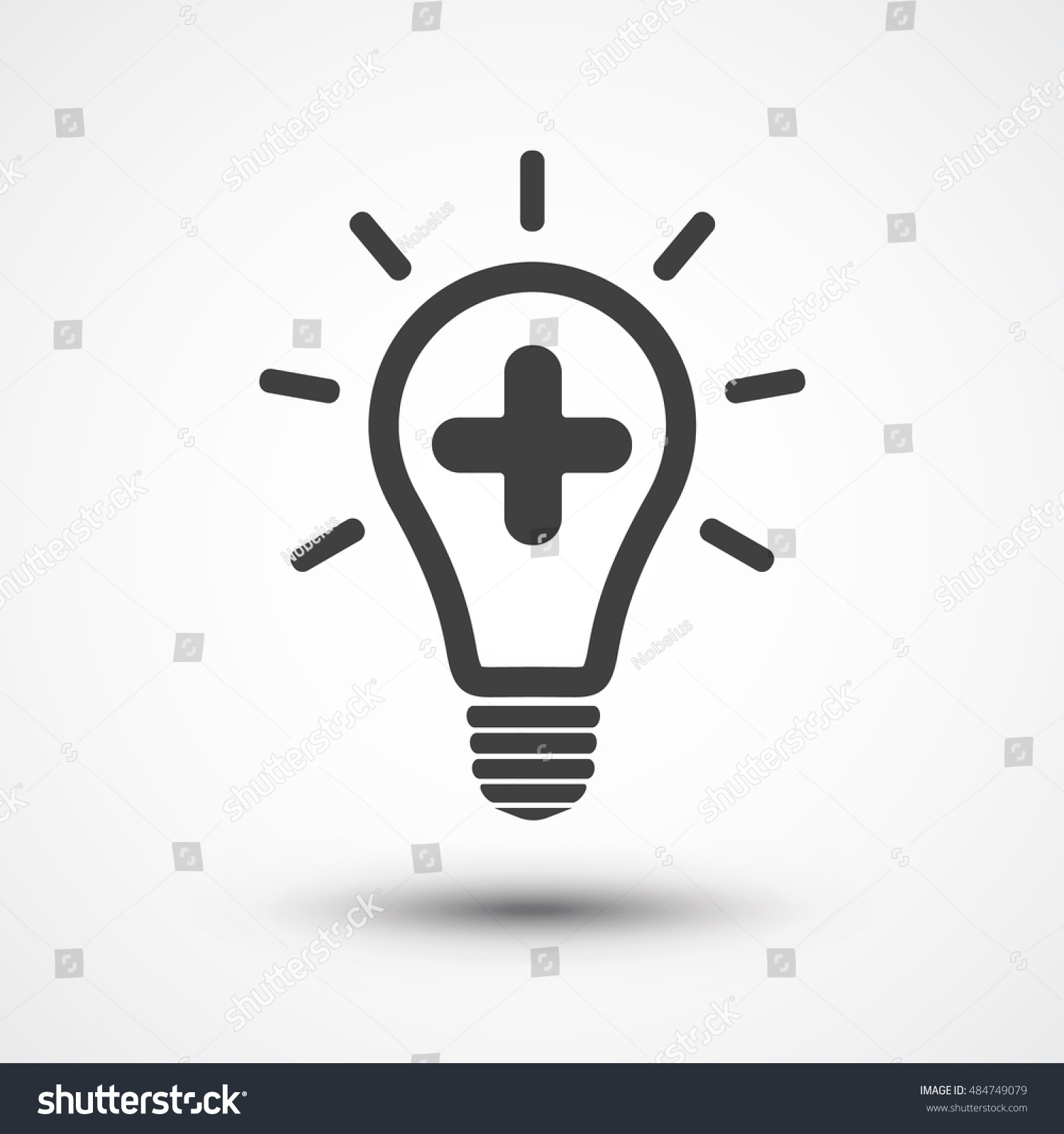 vector square blue icon lighting bulb. medical bulb vector icon create idea add plus symbol light square blue lighting