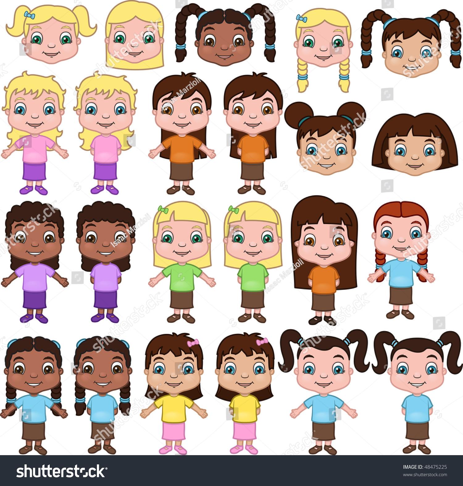 Groovy Little Girls Set Ethnic Types Hairstyles Stock Vector 48475225 Short Hairstyles For Black Women Fulllsitofus