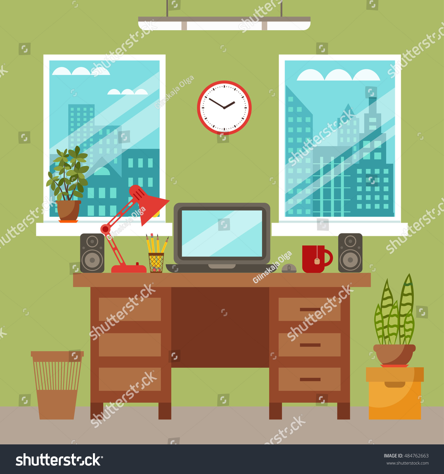 Vector Colorful Office Desk With Indoor Plants Work Interior Design Elements Laptop