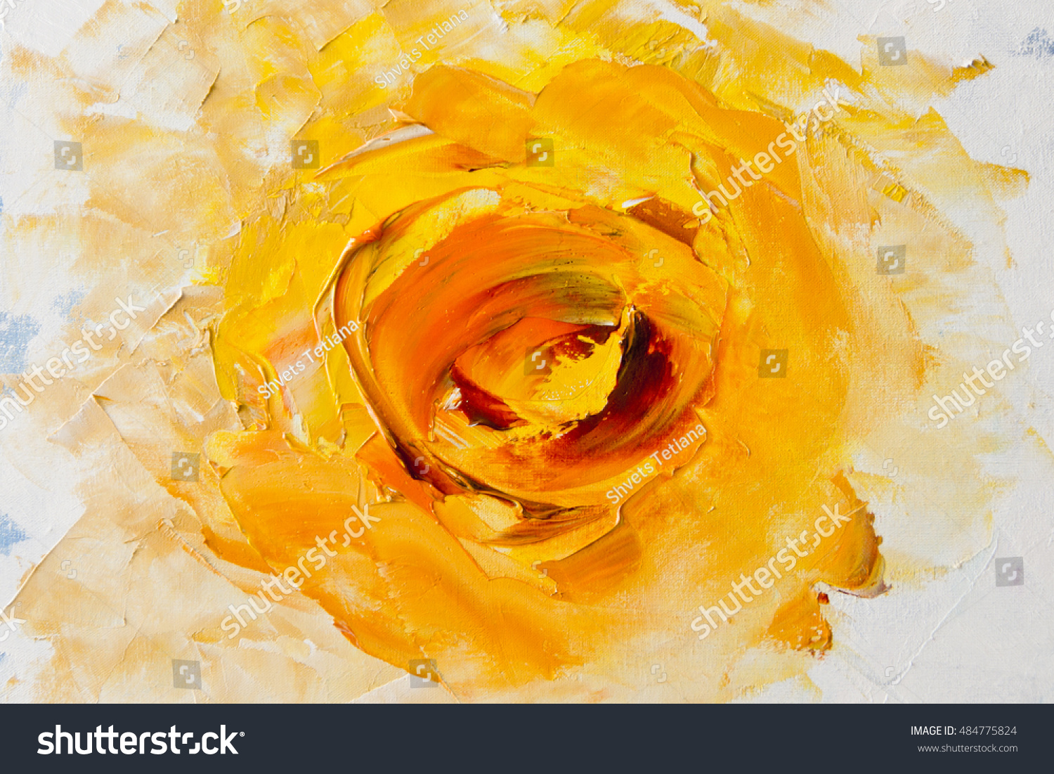Art Oil Painting Picture Fantasy Yellow Flower Stock Illustration