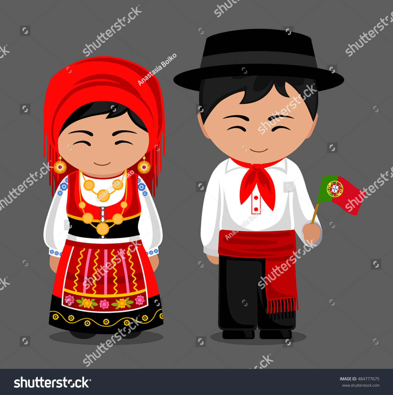 Portuguese National Dress Flag Man Woman Stock Vector